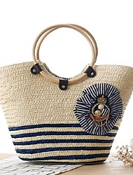 STYLE-CICIWomen-Casual-Straw-Tote-Blue / Red