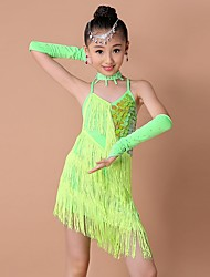 Latin Dance Dresses Children's Performance Spandex Fashion Sequins / Tassel(s) Kid's Dance Costumes