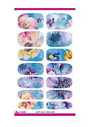 K5662 Water Transfer Nail Foil Sticker Art Painting Chinese Ink Paiting Flowers Nail Wraps Sticker Manicure Decor Decals