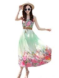 2016 Summer New Women's Bohemian Beach / Flower Print Chiffon Dress
