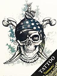1pc transferência de água Big Picture adesivos tatuagem homem de volta cabeça tatuagem esqueleto