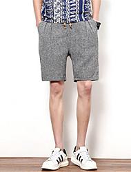 Men's Shorts,Casual Solid Linen
