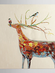 Hand Painted Oil Painting Animal Cheery Deer with Stretched Frame