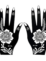 2pcs Henna Indian Airbrush Tattoo Lady Flower Style Hands Art Temporary Black Fake Tattoo Sticker S110