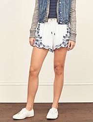 Women's Print White Shorts Pants,Casual / Day / Boho
