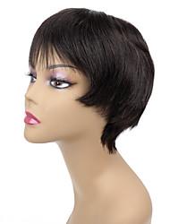 hechos a máquina color natural extensiones cortas postizo 100% real remy virginal del pelo humano pelucas con flequillo