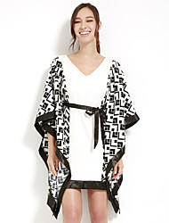 JOANNE KITTEN Women's Sexy / Vintage / Cute Patchwork Swing / Black and White Dress, V Neck Above Knee Polyester
