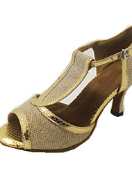 Customizable Women's Dance Shoes Latin Leatherette Flared Heel Gold