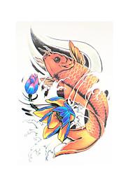 8pcs art de la taille autocollant de tatouage temporaire de corps de transfert d'eau d'hommes de femmes poissons lotus carpe tatouage