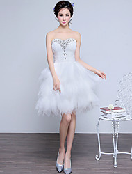 Cocktail Party Dress Ball Gown Sweetheart Knee-length Lace / Tulle with Beading / Tiers