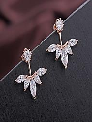 Leaf Shape Rhinestone Stud Earrings