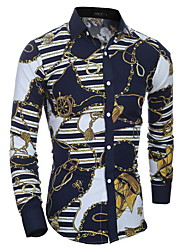 Hot 2016 Spring Fit Long Sleeve Men T Shirt Casual Floral Cotton Blend Floral Outwear Fashion Male T Shirts