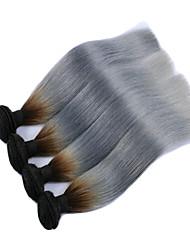 """3pcs / lot 10 """"-28"""" de plata ombre brasileña del pelo gris ombre pelo virginal de la armadura recta de dos tonos 1b / ombre gris"""