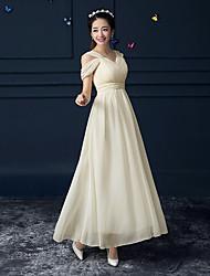 Ankle-length Chiffon Bridesmaid Dress-Champagne / Sky Blue A-line Straps