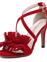 Women's Summer Heels / Platform / Open Toe Fleece Office & Career / Casual Stiletto Heel Applique / Buckle Black / Red