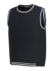 Men's Fashion Striped Letter Slim Fit Tank Tops, Cotton /Polyester