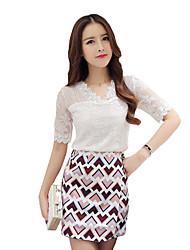 Damen Solide T-shirt - Baumwolle ½ Länge Ärmel V-Ausschnitt