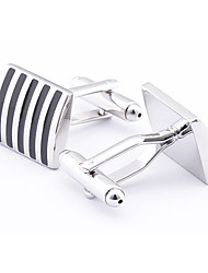 Men's Fashion Stripe Pattern Silver Alloy French Shirt Cufflinks (1-Pair) Christmas Gifts