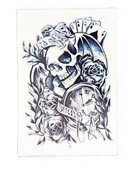 8pcs temporaires crâne poker femmes de temps le corps de santé faux art tatouage fleur imperméable autocollant manche du bras de tatouage