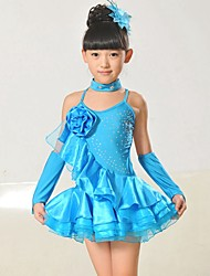 Latin Dance Outfits Children's Performance Chinlon / Taffeta Appliques 4 Pieces Sleeveless Natural Neckwear / Bracelets / DressDress