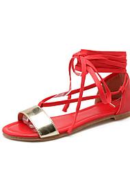 Zapatos de mujer-Tacón Bajo-Punta Abierta / Gladiador-Sandalias-Exterior / Vestido / Casual-Semicuero-Negro / Rojo / Beige