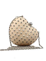 L.WEST Women's Handmade The Heart-shaped Rivet Evening Bag
