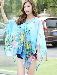 Women's Beach Boho Summer Blouse,Floral V Neck ½ Length Sleeve Blue / Pink / White Polyester Thin