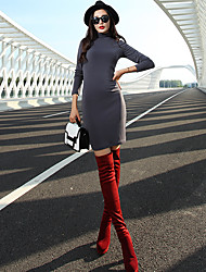 VERRAGEE® Women's Stand Long Sleeve Above Knee Dress-L62