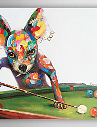 Hand Painted Oil Painting Animal Dogs Play the Table Tennis with Stretched Frame