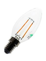 2W E14 Ampoules Bougies LED C35 2 COB 180 lumens lm Blanc Chaud Décorative AC 100-240 V 1 pièce