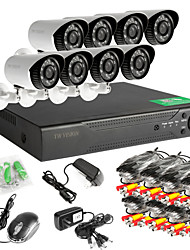8pcs rede DVR 960H de 8 canais AHD exterior CCTV sistema de câmeras de segurança
