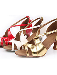 Customizable Women's Dance Shoes Latin Leatherette Customized Heel Gold/Red/White