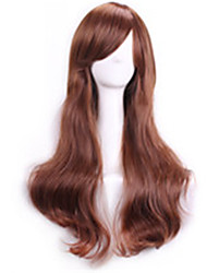 Light Brown Wavy Curly Sexy Pelucas Natural Realistic Wigs Cosplay Wigs Perruque Cheap Synthetic Hair Wigs Bangs Peruca