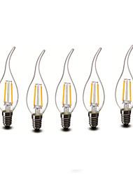 E14 Luci LED a candela CA35 2 COB 200 lm Bianco caldo Decorativo AC 220-240 V 5 pezzi