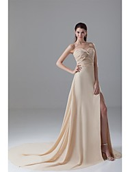 Formal Evening Dress-Champagne A-line Sweetheart Court Train Chiffon