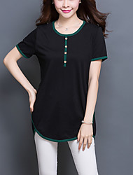 Tee-shirt Aux femmes,Mosaïque Décontracté / Quotidien Grandes Tailles / simple Eté Manches Courtes Col Arrondi Noir Coton / Spandex Fin