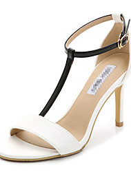 Women's Shoes Leather Stiletto Heel Heels / Open Toe Sandals Party & Evening / Dress / Casual Black / White / Nude