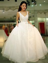 Принцесса Свадебное платье В пол На бретелях Тюль с Бусины