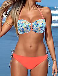Women's Bandeau Push Up Floral Twist Beach Wear Swimwear Bikini