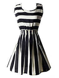 ZAY Women's Classical Stripe Sleeveless Waisted  Dress