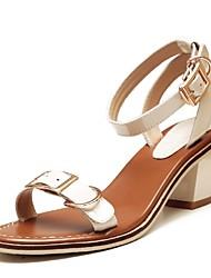 Zapatos de mujer-Tacón Robusto-Tacones / Tira en el Tobillo-Sandalias-Oficina y Trabajo / Vestido / Fiesta y Noche-Pelo de Ternero-Negro
