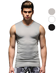Vansydical Men's Quick Dry Fitness Tops White / Gray / Black