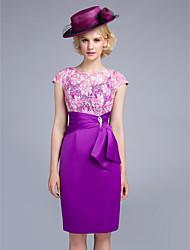 ts Couture® cocktail gaine de robe de soirée / colonne bijou genou longueur dentelle / organza / satin avec ceinture / ruban