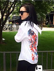 Women's White/Green Long Sleeve Flower Print Chiffon Long Blouse
