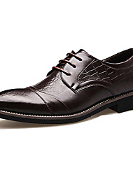 Men's Shoes Cowhide Party & Evening Oxfords Party & Evening Walking Low Heel Lace-up Black / Brown