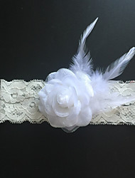 Garter Stretch Satin Flower / Feather Ivory