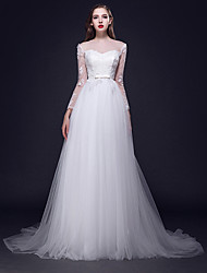 A-line Wedding Dress Sweep / Brush Train Jewel Tulle with Appliques / Button