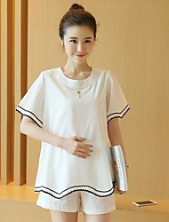 Maternity Round Neck Ruffle Set,Cotton Short Sleeve