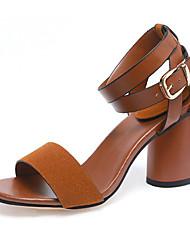 Zapatos de mujer-Tacón Robusto-Punta Abierta / Tira en el Tobillo-Sandalias-Oficina y Trabajo / Vestido / Fiesta y Noche-Ante / Cuero
