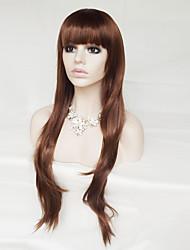 alta temperatura cosplay peruca peruca de seda cabelos castanhos encaracolados 30 polegadas
